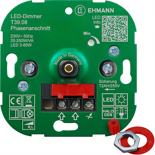gg105898  Ehmann LED UP-Phasenanschnitt-Dimmer LUMEO DOMUS T39.08 LED 3-85W Leistung: 20-2