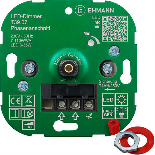 gg105897 Ehmann LED Druck-/Wechsel UP-Phasenanschnitt-Dimmer LUMEO DOMUS T39.07 LED 3-35W